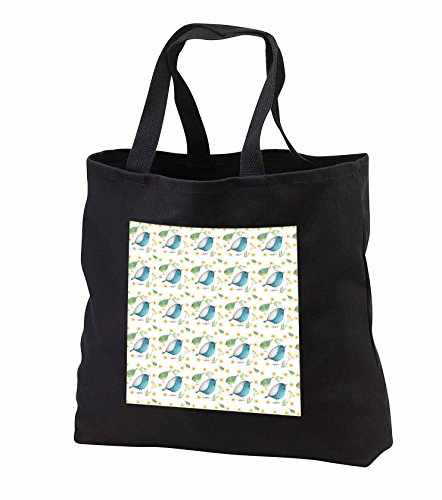 Price comparison product image Anne Marie Baugh - Watercolor - Cute Blue Birds and Flower Watercolor Pattern - Tote Bags - Black Tote Bag JUMBO 20w x 15h x 5d (tb_252816_3)