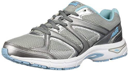 AVIA Women's Avi-Execute II Running Shoe, Chrome Silver/Metallic Grey/Topaz Blue, 9.5 M US