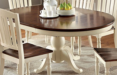 Furniture of America Pauline Cottage Style Oval Dining Table (Oval Dining Table Pedestal Base)