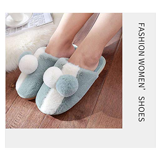House Slippers Green Shoes Slip Unisex Slipper Warm Indoor Pom Cozy On Cute pom Loafer SpwTqUd