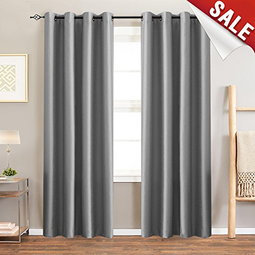 jinchan Faux Silk Satin Blackout Curtains for Living Room Luxury Dupioni Thermal Insulated Grommets Top Drapes for Bedroom, (50-inch x 84-inch, Grey, Pack of Two) Silk Dupioni Window Panel