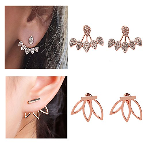 Anqifull 2Pairs Fashion Hollow Lotus Flower Earrings Crystal Simple Chic Stud Earrings Set for Women and Girls 0102