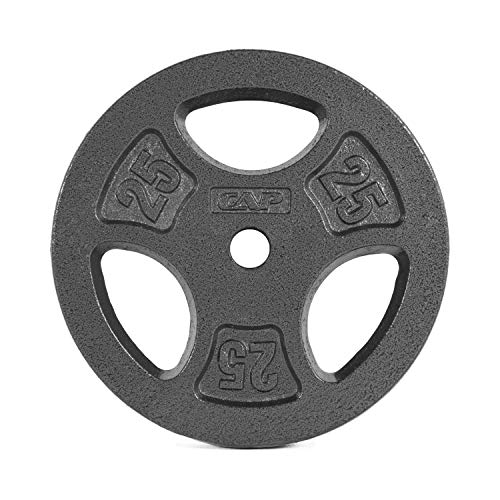 3 Cast Plates - CAP Barbell Standard 1-Inch Grip Weight Plates, Single, Black, Various Sizes
