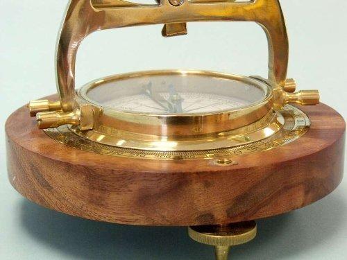 Hampton Nautical  Solid Brass Alidade Compass, 14'', Brass by Hampton Nautical