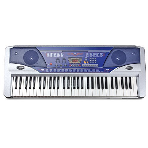 Flexzion Electric Piano Keyboard 61 Key Digital Key Board Portable With LCD Display Screen 100 Timbres and Power Supply Multi Function Musical Instrument Gift in Blue by Flexzion
