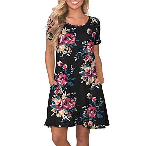 4d7f499c685b kemilove Women's Summer Casual T Shirt Dresses Short Sleeve Swing Dress  with Pockets Black