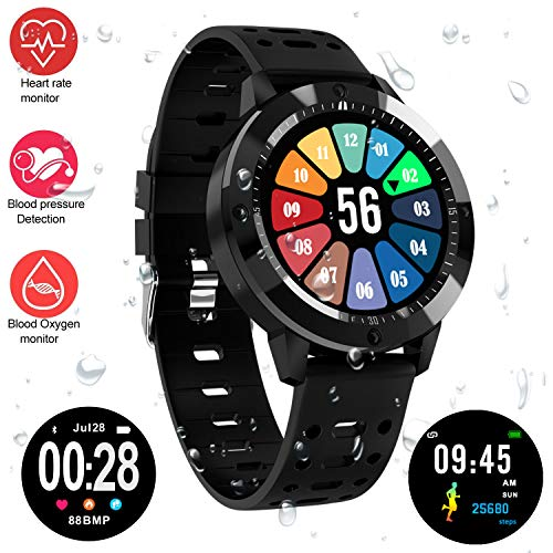 (Fitness Tracker Watch, Upgraded IP67 Waterproof HD Color Screen Smart Bracelet, HR/Blood Oxygen/Pressure/Calorie/Sleep Monitor Pedometer Activity Tracker for Android/IOS (1.3
