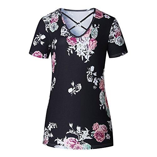 Loose Noir Basic Plus Blouse T XXXXXL Shirt Neck V D't Dcontract Blouse Lace Courtes Size Up Chemise Femmes XS Manches Shirts Basique Juleya Imprim xwZqtSUFgx