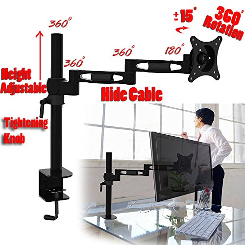 2xhome - New 3 Way Three-sectioned Ergonomic Fully Height Adjustable Easy Articulating Flex Extension Arm Tilting Retractable Black Desk Pole Mount Bracket Desktop Flat Panel Clamp Stand for Single LCD (Swing Arm Pole Mount)