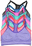 6 pack sports bra - ToBeInStyle Women's Pack of 6 Heather Racerback Sports Bras Charcoal, Lime, Mocha, Orange, Pink, and Purple OS