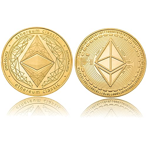 J.CARP Ethereum Coin (ETH) Commemorative Coin, Cryptocurrency Gold Plated Collectible Coin, with Protective Case (Gold, 1PCS)