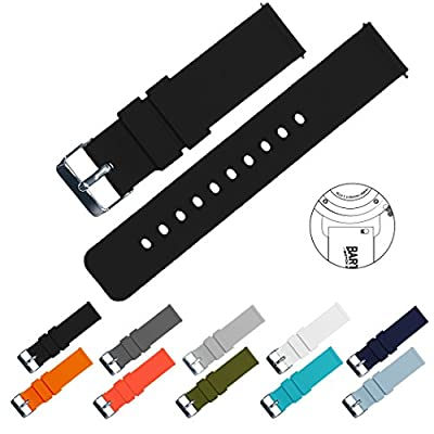 BARTON Quick Release Watch Bands - Choice of Colors & Widths (18mm, 20mm or 22mm) - Soft Silicone Rubber