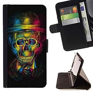 For Huawei Ascend P8 Lite (Not for Normal P8) Case , Diseño Cráneo 3D- la tarjeta de Crédito Slots PU Funda de cuero Monedero caso cubierta de piel