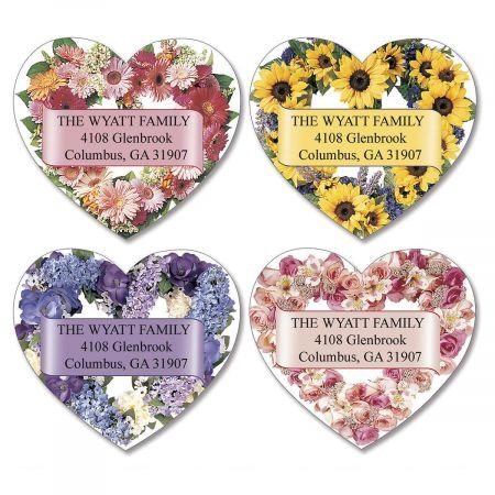 Personalized Heart Blossoms Diecut Valentine's Day Address Labels - Set of 144 Self-Adhesive, Flat-Sheet labels