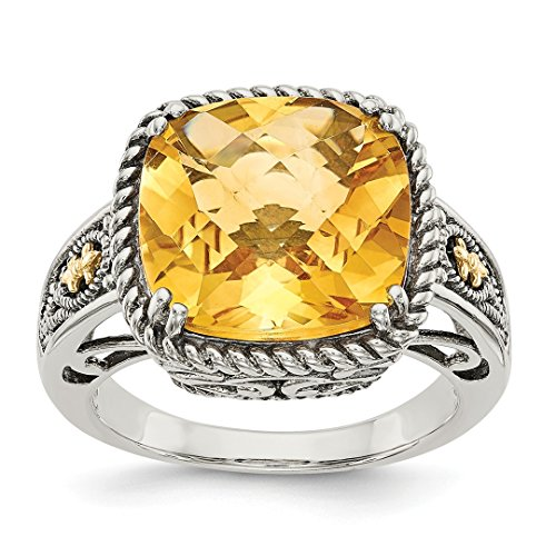 ICE CARATS 925 Sterling Silver 14kt Yellow Citrine Band Ring Size 6.00 Gemstone Fine Jewelry Ideal Gifts For Women Gift Set From Heart