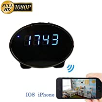 Jiusion 1080P Wireless Wi-Fi Spy Camera Clock, Android IOS App-Enabled Hidden Cam, with 10pcs Night Vision LED Motion Activated Security Surveillance