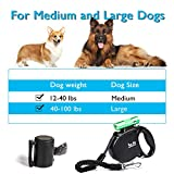 Happy & Polly Dog Leash Retractable with Flashlight Heavy Duty Tangle-Free 16.4 ft Strong Nylon Tape with Leather Feel Rubber Handle Detachable Aluminum Alloy Flashlight/Bungee Leash/Poop Bag Holder