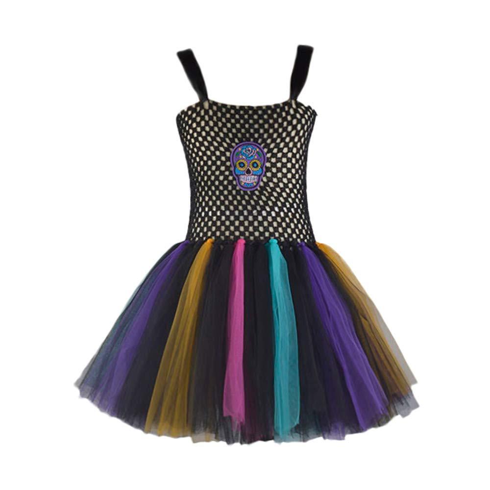 Zarupeng Baby Mädchen Ärmelloses Tutu Kleid Halloween Party Festlich Mesh Kleid Schulterfrei Babydoll Kleider Kurzer Rock Kleidung