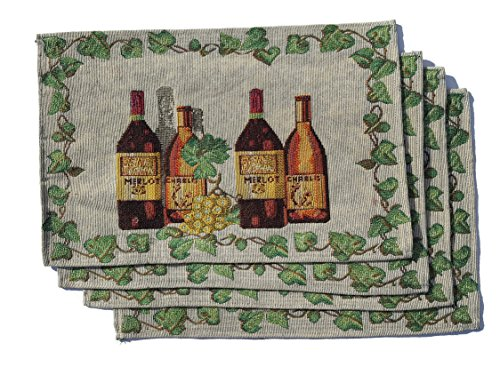 [Set of 4 Wine Bottle Theme Tapestry Placemats 13x19 Colorful (Merlot)] (Theme Bottle)