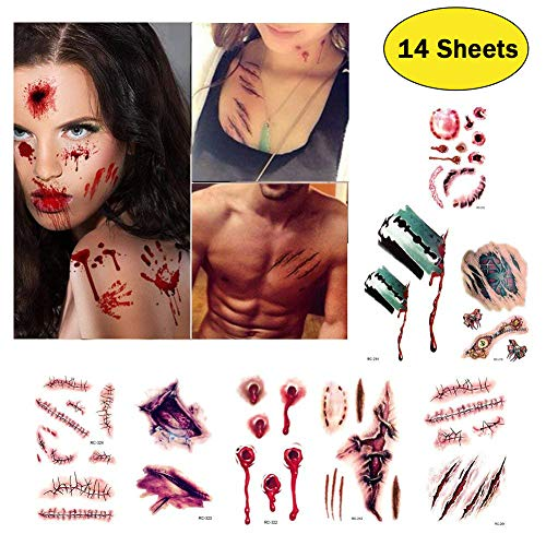 Halloween Scar Tattoos Stickers Temporary - Waterproof Horror Realistic Fake Bloody Terror Wound Injury Stitch Scar Scary Halloween Tattoo Cosplay Costume Makeup Party Favour (14pcs)