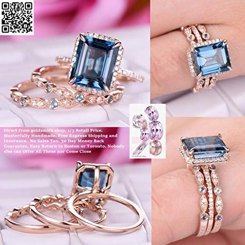 Emerald Cut London Blue Topaz Engagement Ring Trio Sets Pave Diamond Wedding 14K Rose Gold,8x10mm