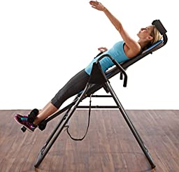 Pure Fitness Gravity Inversion Therapy Table: Deluxe Adjustable Folding Table, Blue/Black
