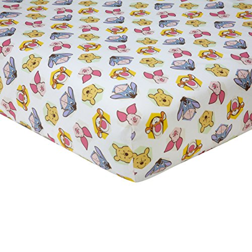 Cotton Winnie The Pooh Sheets (Disney Winnie the Peeking Pooh 100% Cotton Fitted Crib Sheet, Yellow/Blue/Green)
