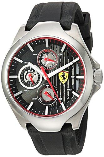 Ferrari Men's 'Aero' Quartz Stainless Steel and Silicone Casual Watch, Color Black (Model: 0830510)