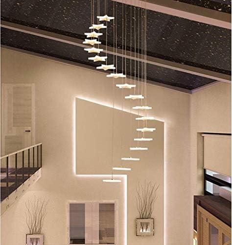 ZQYY Luz de Techo de la Escalera de LED, Lámpara Colgante Giratoria Moderna, Araña de Altura Regulable Forma de Estrella Luces Art Deco,whitelight,18lights: Amazon.es: Hogar