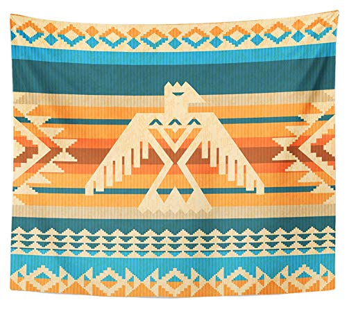 Emvency Tapestry Polyester Fabric Print Home Decor Thunderbird Navajo Style Abstract with Eagle and Traditional Geometric Motifs Wall Hanging Tapestry for Living Room Bedroom Dorm 50x60 inches