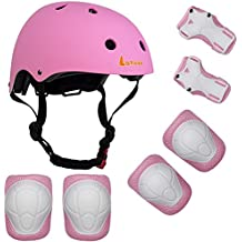 Lanova Kids Adjustable Helmet Sports Protective Gear Set Knee Elbow Wrist Pads for Roller Bicycle Bike Skateboard and Other Extreme Sports Activities