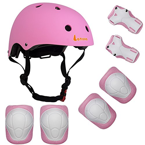 Lanova Kids Adjustable Sports Protective Gear Set Safety Pad Safeguard (Helmet Knee Elbow Wrist) Roller Bicycle BMX Bike Skateboard and Other Extreme Sports Activities - Skates Kids Gear Roller