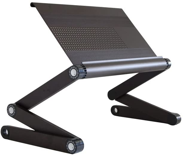 WorkEZ Executive Adjustable Ergonomic Laptop Cooling Stand & Lap Desk for Bed Couch folding aluminum desktop computer riser tray height tilt angle portable macbook cooling reading monitor,Black