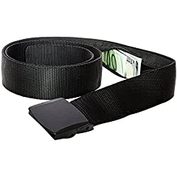 Zero Grid Travel Security Belt - Hidden Money Pouch - Non-Metal Buckle, Black