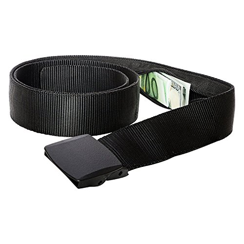 Zero Grid Travel Security Belt - Hidden Money Pouch - Non-Metal Buckle (Black) from Zero Grid
