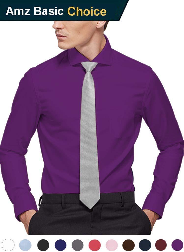 diig Men Dress Shirt Purple 17.5