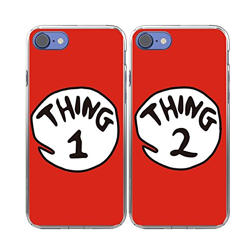 iPhone 7 Case-TTOTT 2X BFF Cute Red Thing1 2 Design Lovers Couple Best Friends Ultra-Slim Soft Silicone Bumper Frame Hard Back Cover Case for iPhone 7 Case 4.7''inch 2016 New Model