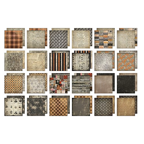 Tim Holtz Idea-ology Paper Stash Pad 8 x 8 inch - 2017 Halloween - 24 Papers ()