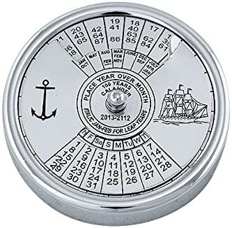 Immerwährender Kalender-Jedes-Jahr-Kalender-ewiger Kalender-Messing, vernickelt