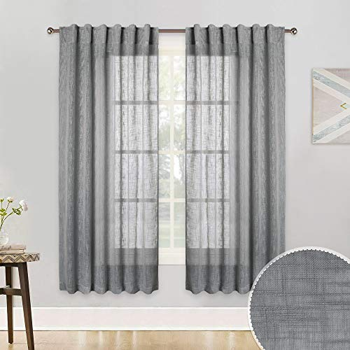 (RYB HOME Sheer Window Curtains Open Wave Linen Textured Drapes for Dinning Room, Summer Heat Faded Semi Translucent Sheer Voile for Kitchen/Bath, Grey, 52 inch Wide x 63 inch Long, 1 Pair)