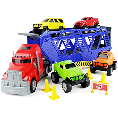 Boley 5-in-1 Big Rig Hauler Truck Carrier Toy Complete Trailer with Construction Toy Toy Toy Signs and Monster Jam Great Toy for Boys, ()