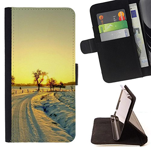 God Garden - FOR Apple Iphone 6 - Road Sunlight Winter - Glitter Teal Purple Sparkling Watercolor Personalized Design Custom Style PU Leather Case Wallet Fli