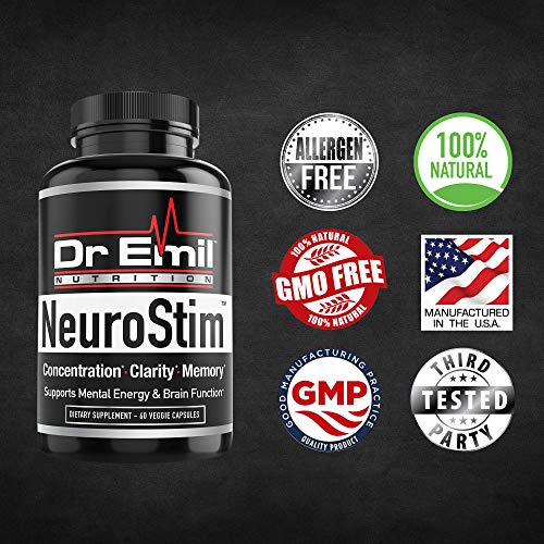 Dr. Emil's - Nootropic Brain Supplement for Memory, Focus, Clarity and Concentration with Huperzine A, DMAE and Glutamic Acid (60 Veggie Capsules)