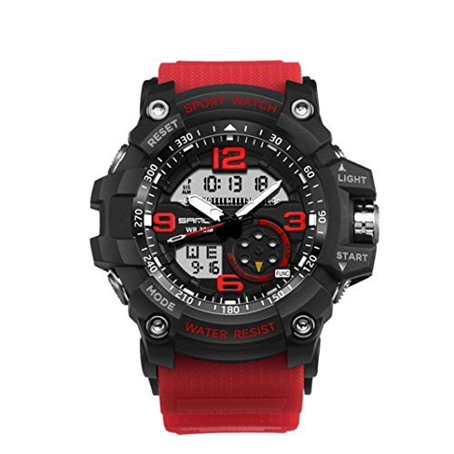 Goddessvan Fashion Men Waterproof Sports Watches Shock Digital Electronic Watch (Red)