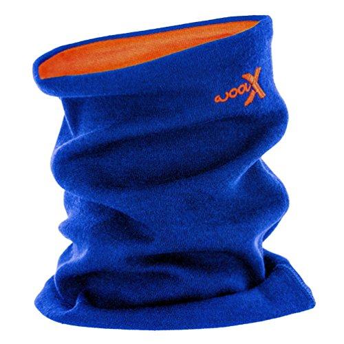 (Woolx Unisex Merino Wool Neck Gaiter To Keep Neck & Face Warm , Cobalt/Tangerine, One Size)