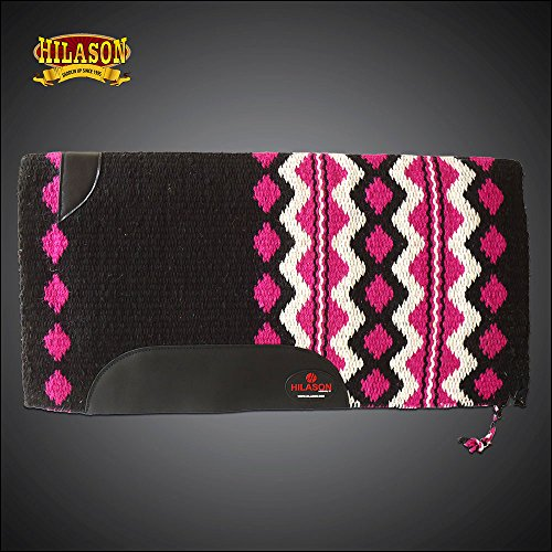 HILASON Western New Zealand Wool Horse Saddle Blanket Black Pink White
