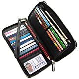 Image of Women RFID Blocking Wallet Genuine Leather Zip Around Clutch Large Travel Purse Black