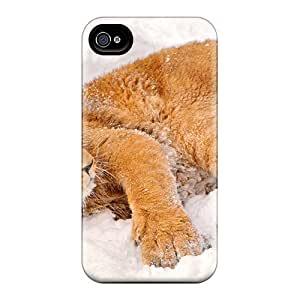 Durable Defender Case For Iphone 4/4s Tpu Cover(animals Beasts Lion In The Snow)