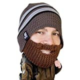 Beard Head - The Original Stubble Chico Knit Beard Hat (Brown)