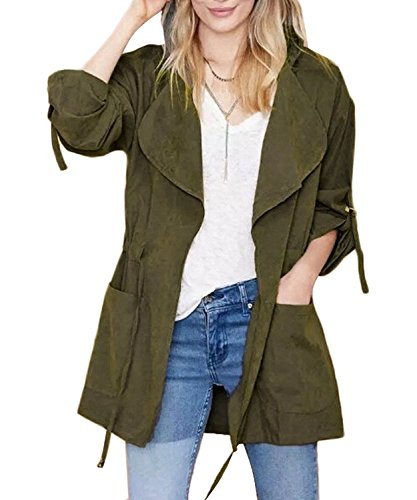 Militar con mujer Chaqueta Larga Jacket Manga Minetom Abrigo Coat Otoño Verde para Capucha aFwqnnHS